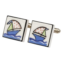 Sailing Yacht Bone China Cufflinks
