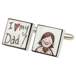 I Love My Dad! (Girl) Bone China Cufflinks