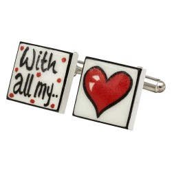 """With All My Love"" Bone China Cufflinks"