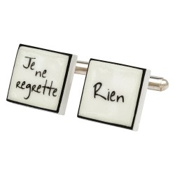 """Je Ne Regrette Rien"" Bone China Cufflinks"