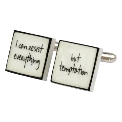 """I Can Resist Everything....."" Bone China Cufflinks"