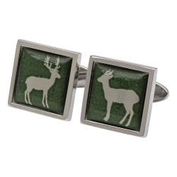 Stag and Doe on Green Cufflinks