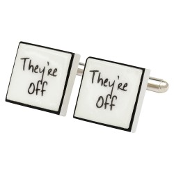 """They're Off"" Bone China Cufflinks"