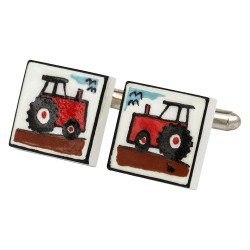Red Tractor Bone China Cufflinks