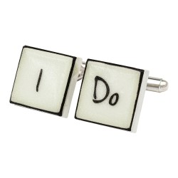 """I Do"" Bone China Cufflinks"