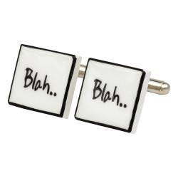 """Blah Blah"" Bone China Cufflinks"