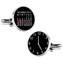 Personalised Black Special Date and Time Cufflinks