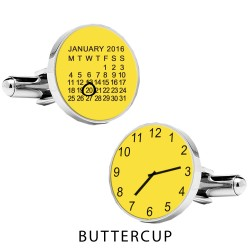 Yellow Personalised Special Date and Time Cufflinks