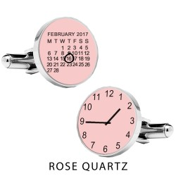 Personalised Pink Special Date and Time Cufflinks