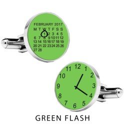 Personalised Special Date and Time Cufflinks - Green