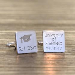 Personalised Mortar Board Graduation Cufflinks