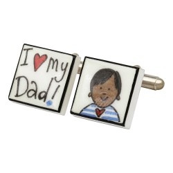 I Love My Dad! (Asian Boy) Bone China Cufflinks