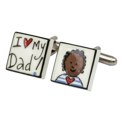 I Love My Dad! (Black Boy) Bone China Cufflinks