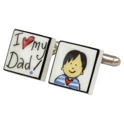 I Heart My Dad! (Asian Boy) Bone China Cufflinks