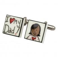 I Love My Dad! (Asian Girl) Bone China Cufflinks