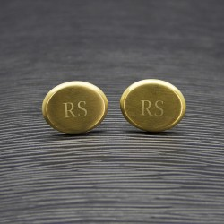 Personalised Gold Oval Initial Cufflinks