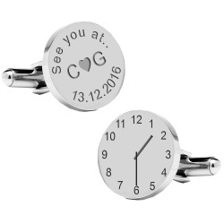 See You At Time and Date Engraved Wedding Cufflinks