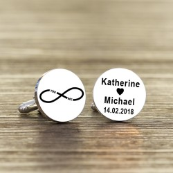 Personalised You and Me Infinity White Wedding Cufflinks