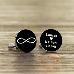 Personalised You and Me Infinity Wedding Cufflinks