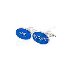 Oval Blue - Mr Right Cufflinks