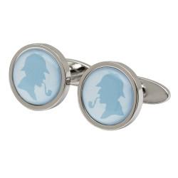 Blue Sherlock Holmes Silhouette Cufflinks