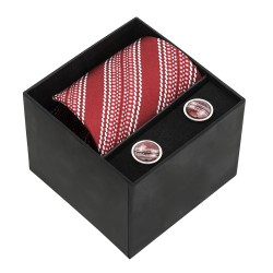 Cricket Ball Seam Tie and Cufflinks Boxed Gift Set