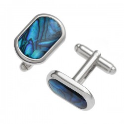 Blue Paua Shell Round Edge Cufflinks