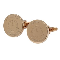 Personalised Special Time Rose Gold Wedding Cufflinks
