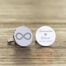 Personalised Round Infinity Wedding Cufflinks