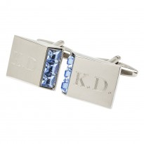 LEO Sapphire Engraved Initial Cufflinks Andrew Worth