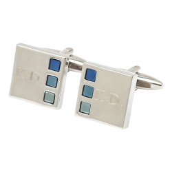 Sonar Blues Engraved Initial Cufflinks Andrew Worth