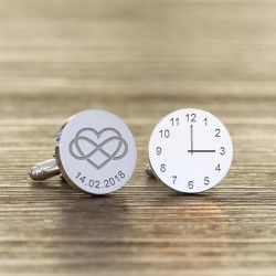 Heart Infinity Engraved Wedding Time and Date Cufflinks
