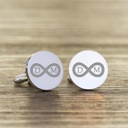 Personalised Round Infinity Initials Cufflinks
