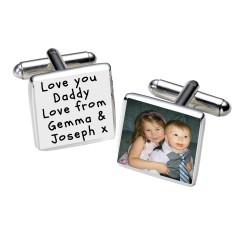 Any Message Photo Cufflinks- Personalised Cufflinks