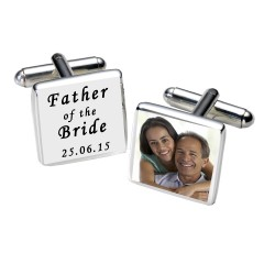 Personalised White Father of the Bride Photo Cufflinks