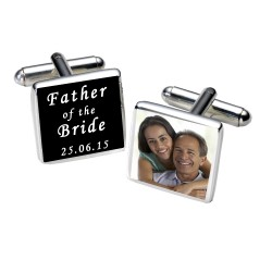 Personalised Black Father of the Bride Photo Cufflinks