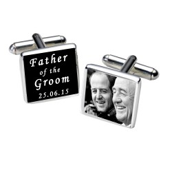 Personalised Black Father of the Groom Photo Cufflinks