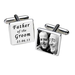 Personalised  Father of the Groom Photo Cufflinks - White