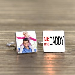 Me And Daddy Photo Cufflinks- Personalised Cufflinks