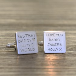 Personalised Bestest Daddy in the World Cufflinks
