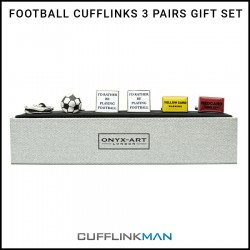 Football Cufflinks - 3 Pairs Gift Set.