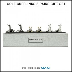 Golf Cufflinks - 3 Pairs Gift Set - By Onyx-Art