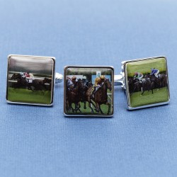 Personalised Horse Racing Cufflinks - Horse Racing Colours on Cufflinks