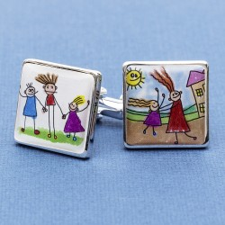 Child's Artwork Cufflinks Personalised - Your Childs Drawing on Cufflinks