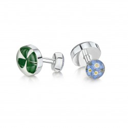 Forget Me Not Clover Flower Cufflinks