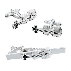 Violin Cufflinks and Tie Bar Set