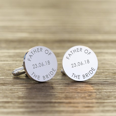Personalised Round Father of the Bride Cufflinks