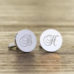 Script Initial Engraved Cufflinks- Personalised Round Cufflinks