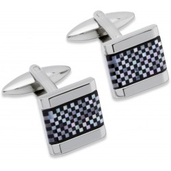 Onyx  and Mother of Pearl Onyx Chequer Designer Cufflinks