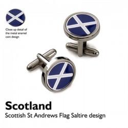 Round Scottish Saltire Flag Cufflinks